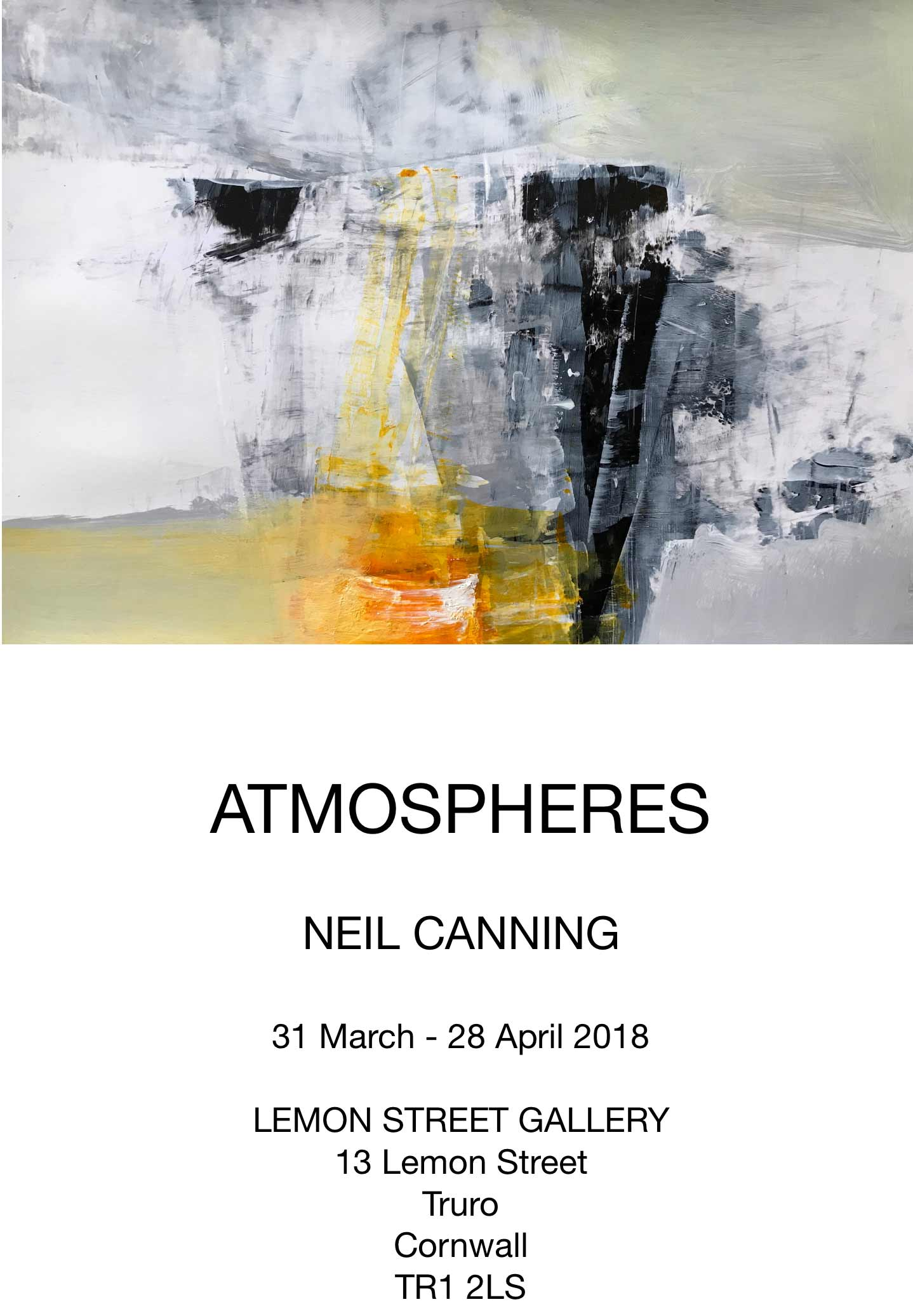 Atmospheres promotional flyer for Lemon Street Gallery art Show March 31st 2018